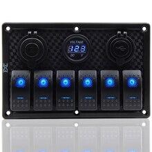 12V 24V กันน้ำ 6 GANG Blue LED Rocker Switch PANEL สลับ Circuit Breaker Dual USB สลับสวิทช์ควบคุมรถ RV เรือ Marine