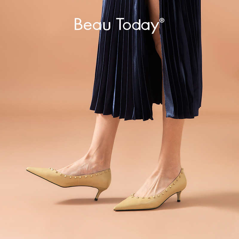 BeauToday Pumps Women Calfskin Genuine Leather Rivet Decoration Pointed Toe Spring Ladies Shallow Med Heel Shoes Handmade 15625