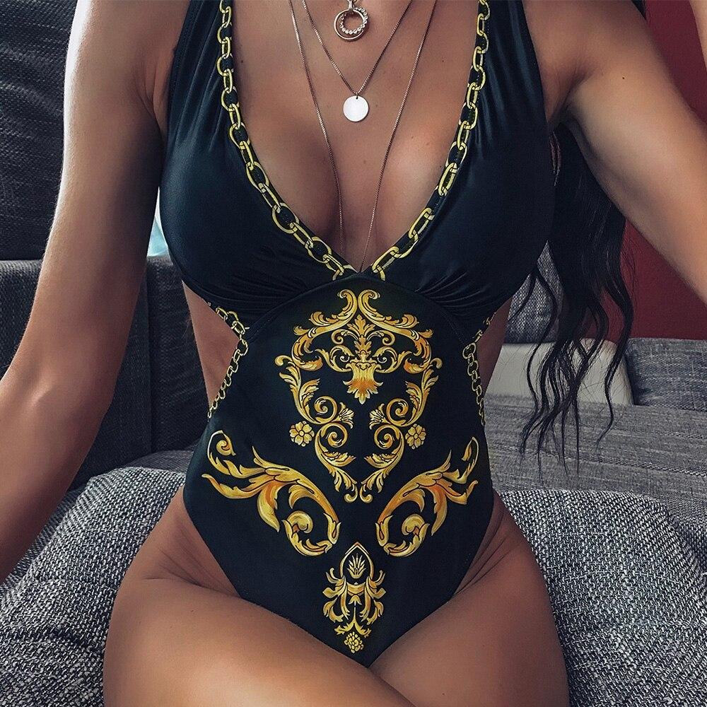 2020 Sexy One Piece Swimsuit Baroque Padded Swimwear Women Print Bodysuit Bandage Brazilian Vintage Bathing Suit Beach Wear D30
