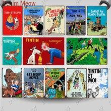 Vintage Tintin Cartoon película personaje lata cartel Retro las aventuras de Tintin Metal placa niños regalo habitación decoración WY109