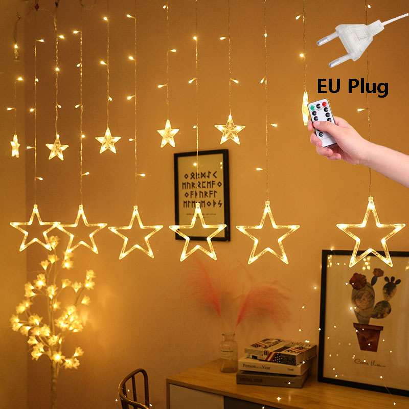 220V LED EU Plug Twinkle Star String Lights Remote Control Outdoor Christmas Garlands Wedding Party Decoration Curtain Lights