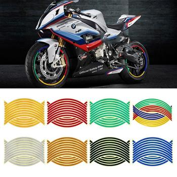 16 Pcs Strips Motorcycle Car Wheel Sticker 17 18 Reflective Decals Rim Tape Bike Car Styling Auto Decals image