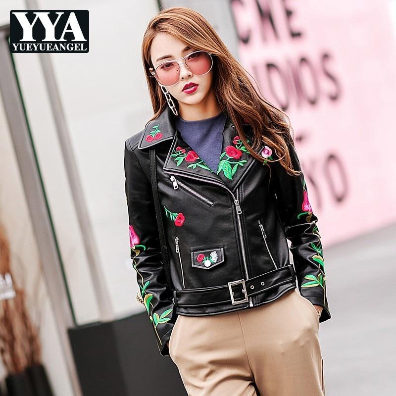 Designer New Women Embroidery PU   Leather   Jackets High Street Moto Biker Zipper Adjustbale Waist Lapel Slim Female Big Size Coats