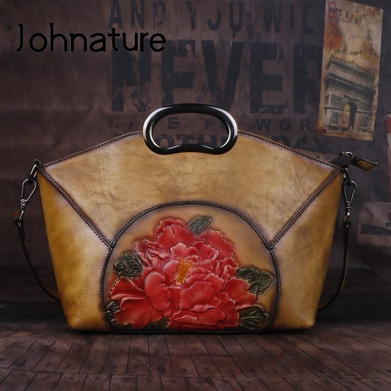 Johnature Luxury Handbags Women Bags Vintage High Quality Genuine  Leather 2020 New Handmade Embossing Shoulder