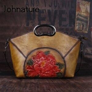 Image 1 - Johnature sacs à main de luxe femmes sacs Vintage haute qualité en cuir véritable 2020 nouveau fait à la main gaufrage épaule et sacs à bandoulière
