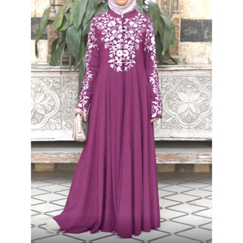 Abayas for women arabic print dress islamic clothing