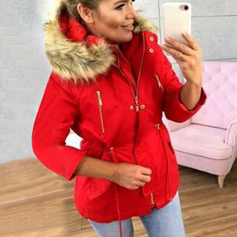 Oeak 2019 Neue Marke Winter Mantel Frauen Casual Zip Up Parka Hoodies Femme Verdicken Baumwolle Jacke Warme Winter Top Mit pelz Kragen