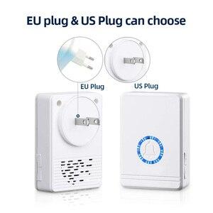 Image 2 - Lange Afstand Draadloze Deurbel Eu/Us Plug Luidspreker Home Entry Alarm Waterdicht Deurbel Nachtlampje 48 Ringtone