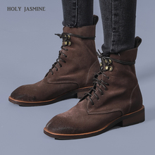 Women Shoes 2020 Spring New Genuine Leather Female Martin Boots Suede Women Booties British Lace Retro Trend Women Naked Boots aiyuqi women martin boots suede women low heeled 2019 new genuine leather shining boots pointed british wind female ankle boots