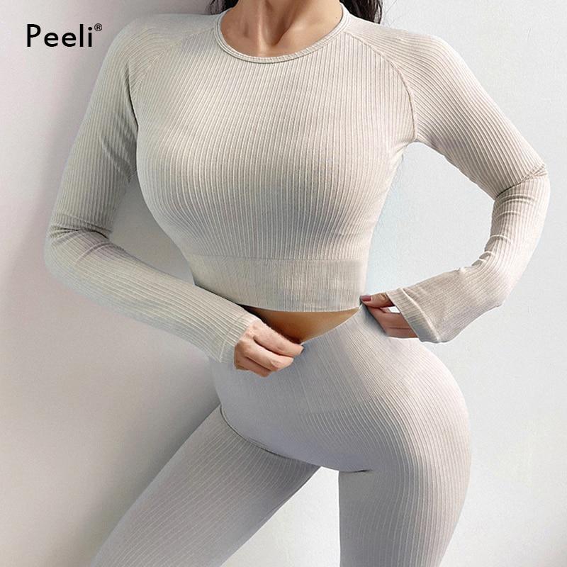 Nahtlose Yoga Anzug Sport Set Gymnastik Kleidung Fitness Frauen Langarm Crop Top Hohe Taille Leggings Rippen Workout Set Trainingsanzüge