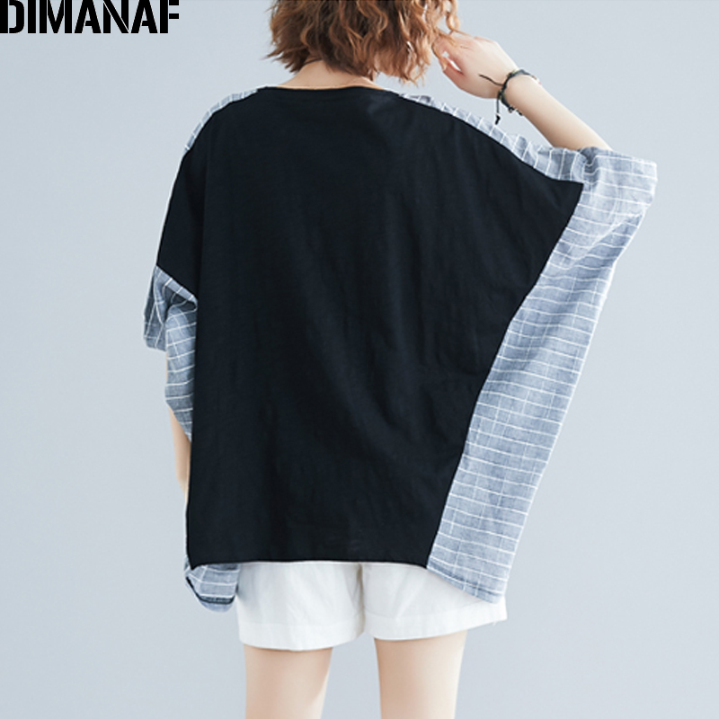 DIMANAF Summer Plus Size Blouse Shirts Women Clothing Cotton Linen Casual Spliced Plaid Lady Tops Tunic Oversize Batwing Sleeve