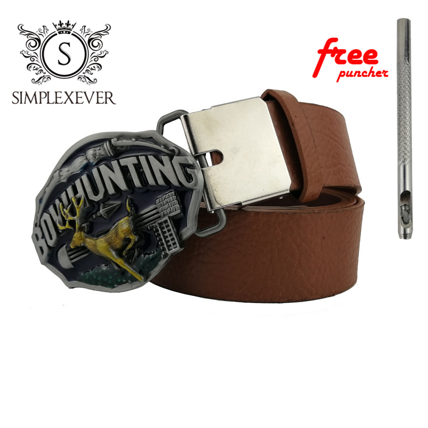 Hunting Belt Buckle With Silver Plating Metal Cowboy Men's Belt Buckles With Leather Belt Drop Shipping