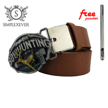 Hunting Belt Buckle with Silver Plating Metal Cowboy Men's Buckles Leather Drop Shipping