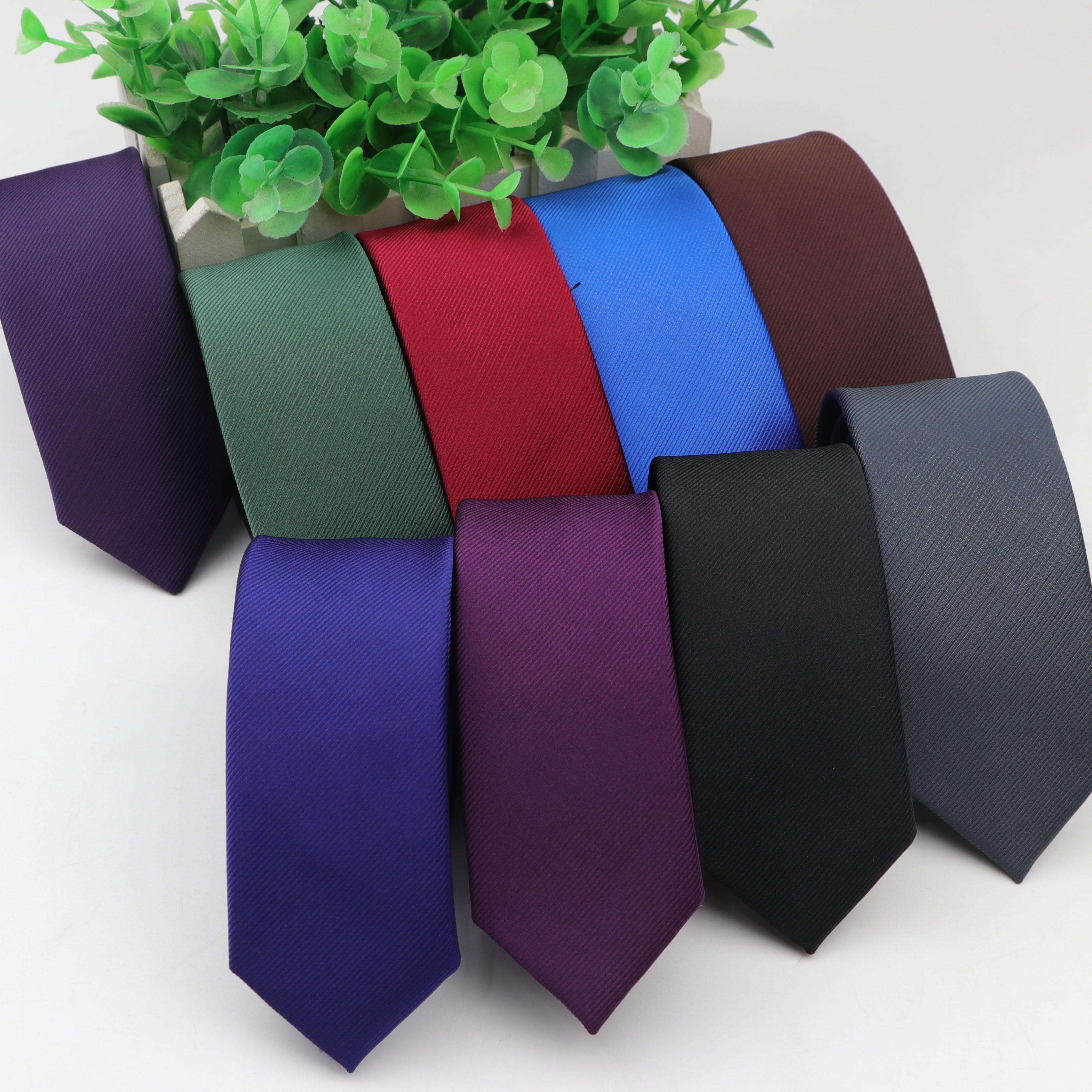 Hight Quality 1200 Needles Necktie 5cm Width Solid Color Ties Gentleman Narrow Men Polyester Gravata Tie Formal Skinny Size