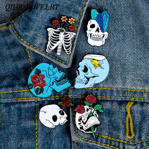 QIHE JEWELRY Flower Skull Enamel Pins Collection Skeleton Head Rose Lapel Pins Love and Death Badges Romantic Brooches