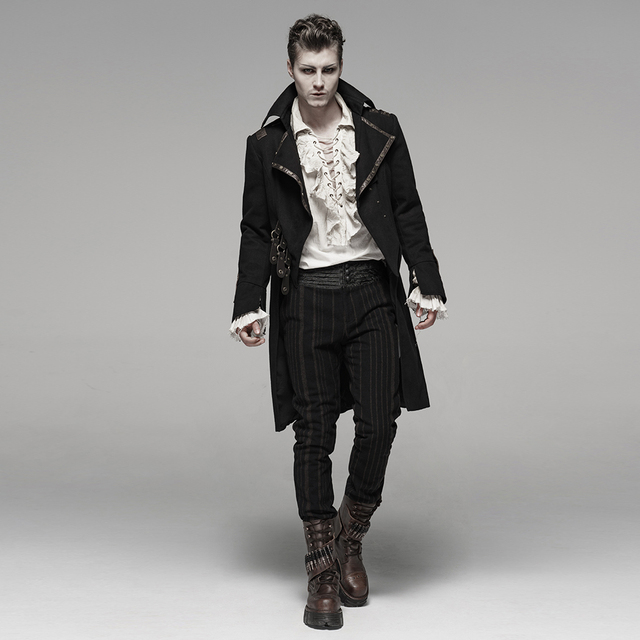 PUNK RAVE Men's Steam Punk Long Coat Twill Slim Fit Handsome Personality Winter Long Sleeve Jackets