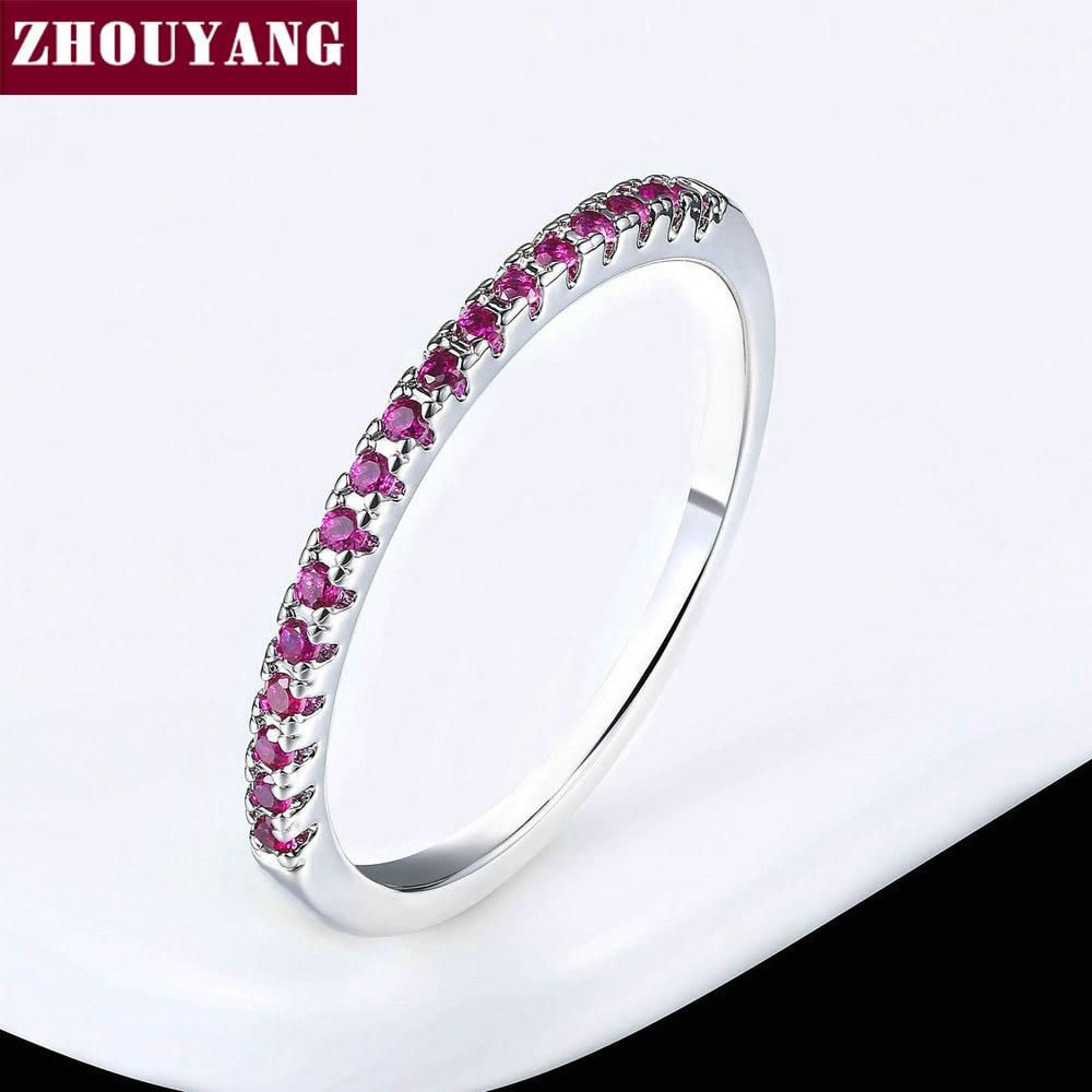 ZHOUYANG обручальное кольцо для женщин и мужчин лаконичное классическое многоцветное мини кубическое циркониевое розовое золото цвет подарок модное ювелирное изделие R251 - Цвет основного камня: R101