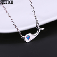 KELITCH Femme Fashion Necklaces 925 Sterling Silver Pendant Necklaces Charm Whale Shape Opal Choker Jewelry Girls Gift