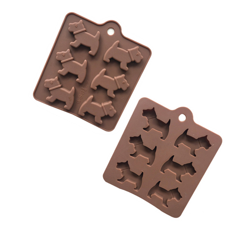 6-hole cartoon dog silicone chocolate mold turning sugar mold insert mold home diy homemade food mold high temperature image