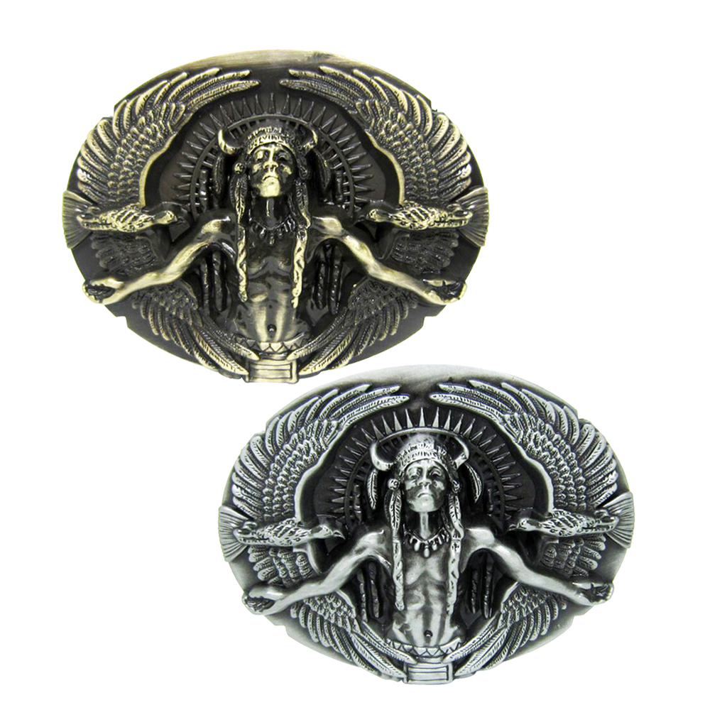 2Pcs Classic Oval Punk Style Belt Buckle Personality Indian Eagle Pattern Silver Bronze Belt Buckle For Men's Working Wedding