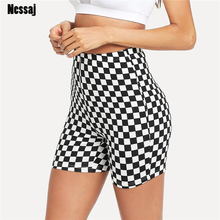 Nessaj Plus Size High Waist Punk Sexy Shorts Black White Checkerboard Push Up Skinny Shorts Women Beach Slim Summer Short Pants