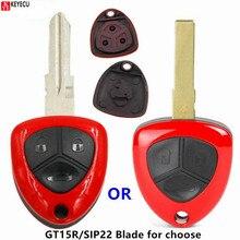 Część wymienna KEYECU obudowa pilota bez kluczyka Case Fob 3 Butttn dla Ferrari California 458 612 599 Uncut GT15R/SIP22 ostrze z Logo