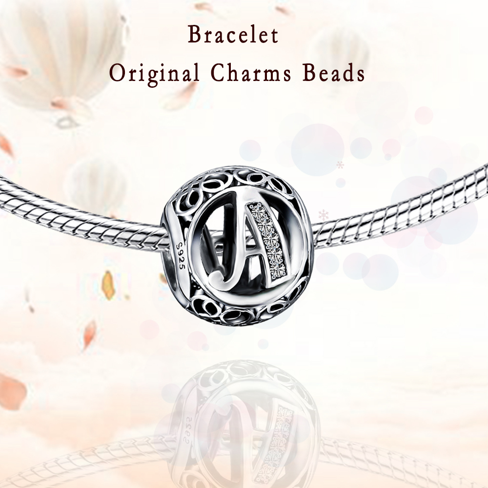 Authentic Letter Charm Beads 925 Sterling Silver Fit  Charms Silver 925 Original Bracelets Beads For Jewelry Making DIY