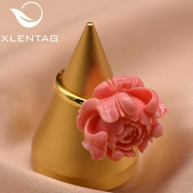 XlentAg Original Designer 925 Sterling Silver Coral Powder Flower Adjustable Ring For Women Party Gift Ring Fine Jewelry GR0223