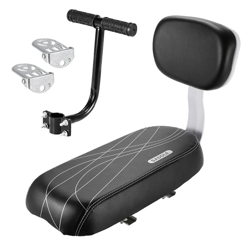Conjunto de reposabrazos y asiento trasero de bicicleta, asiento trasero para bicicleta, cojín de seguridad infantil, reposabrazos, pedales de pies traseros