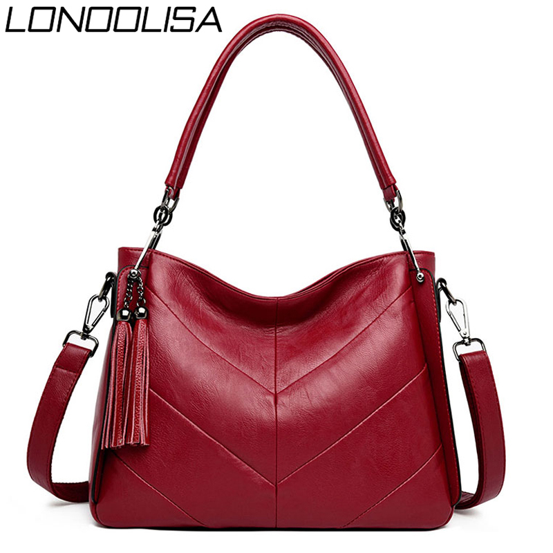 Soft Leather Tassels Luxury Handbags Women Bags Designer Stitching Casual Tote Bag Ladies Hand Bags For Women 2019 Sac A Main