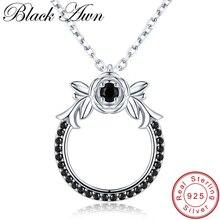 Black Awn новое классическое поступление 925 пробы Серебряное ювелирное изделие Трендовое цветочное обручальное ожерелье и кулоны для женщин KK026