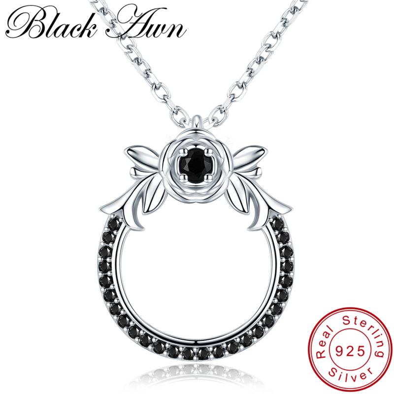 Black Awn 2019 New Classic Arrive 925 Sterling Silver Fine Jewelry Trendy Flower Engagement Necklaces & Pendants For Women KK026