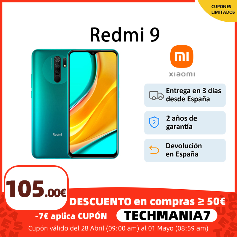 "Xiaomi Redmi 9, Versión Global, 3GB/4GB RAM 32GB/64GB ROM, MTK Helio G80 móvil, pantalla FHD de 6.53"", Cámara cuádruple ia de 13MP, 5020mAh, €70-€7 Promo Code: 7ALICUMPLE11 1"