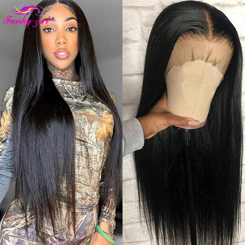 Peruano em linha reta 13x6 frente do laço perucas de cabelo humano pré arrancado com o cabelo do bebê remy cabelo peruca frontal do laço para as mulheres 150% densidade