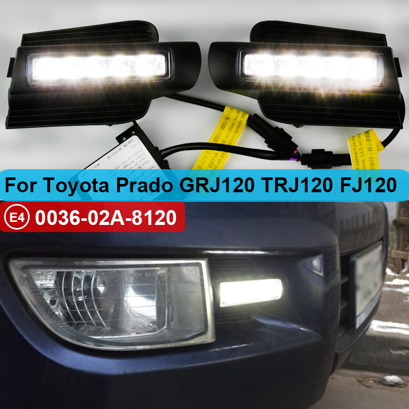 2pcs LED DRL For <font><b>Toyota</b></font> <font><b>Land</b></font> <font><b>Cruiser</b></font> <font><b>Prado</b></font> <font><b>120</b></font> GRJ120 TRJ120 FJ120 LC120 2003~2009 Daytime Running Light Fog Lamp Original Esuse image