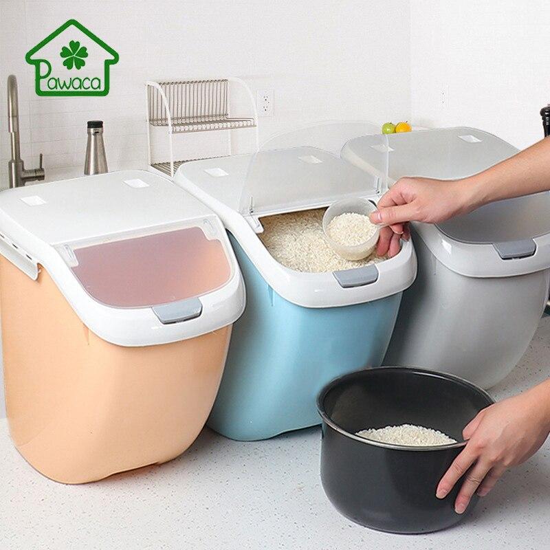 Pawaca 6/10/15 kg 쌀 저장 상자 봉인 된 방습 대용량 곡물 밀가루 컨테이너 주방 쌀 저장 상자 플립 커버