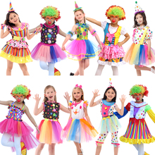 Holiday Carnival Variety children Funny Clown Costumes Christmas Boy Girl Joker Costume Cospaly Party Dress Up Suits