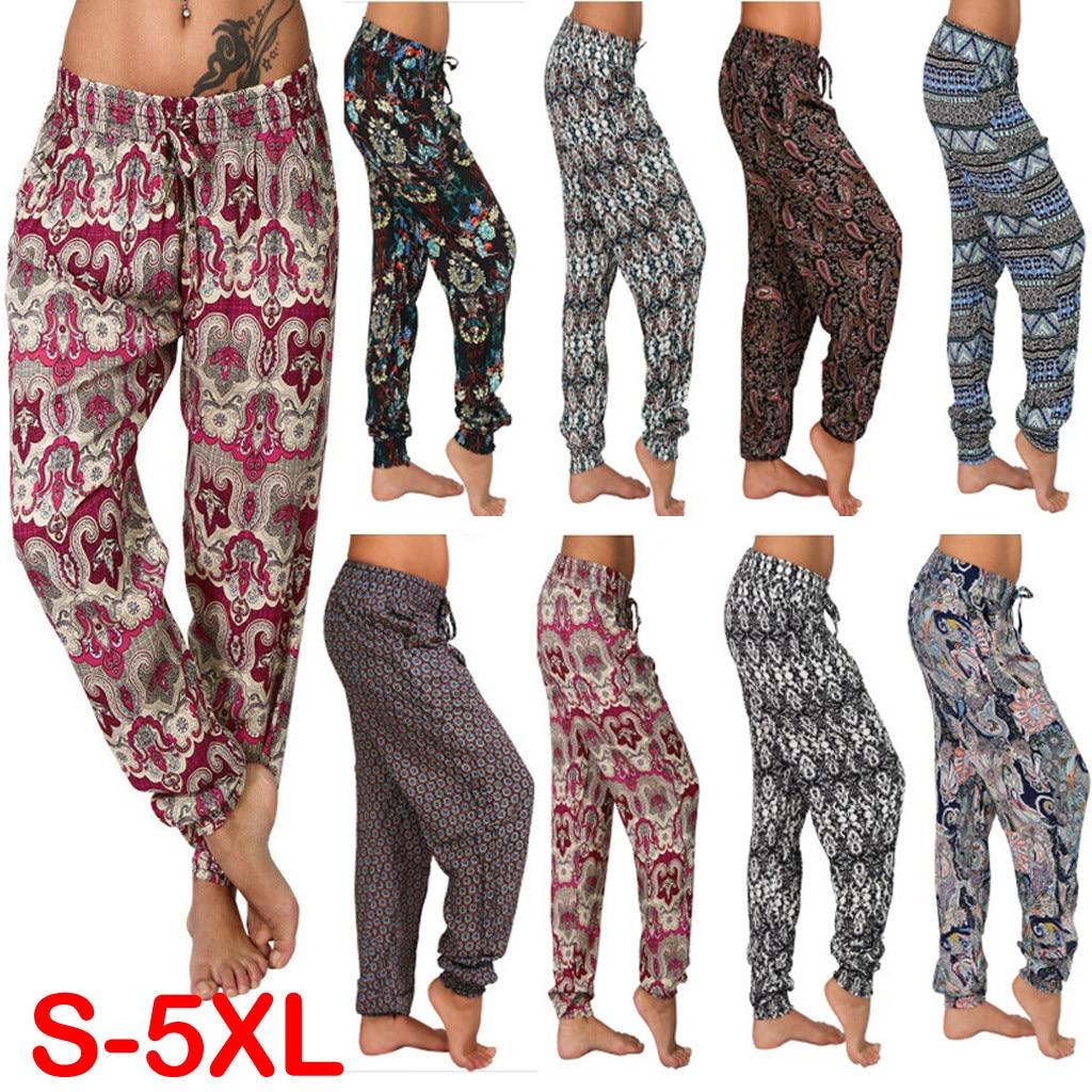 Summer Pants Women Casual Plus Size 5XL Strap Digital Print Elastic Waist Drawstring Loose Long брюки Fashion 8 Colors Trousers