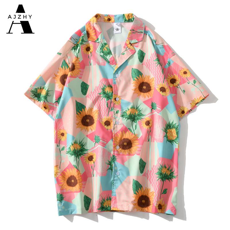 Hawaiian Shirts Men Hip Hop Short Sleeve Shirts Women Summer Beach Flower Full Print Streetwear Harajuku Fashion Clothes Pink