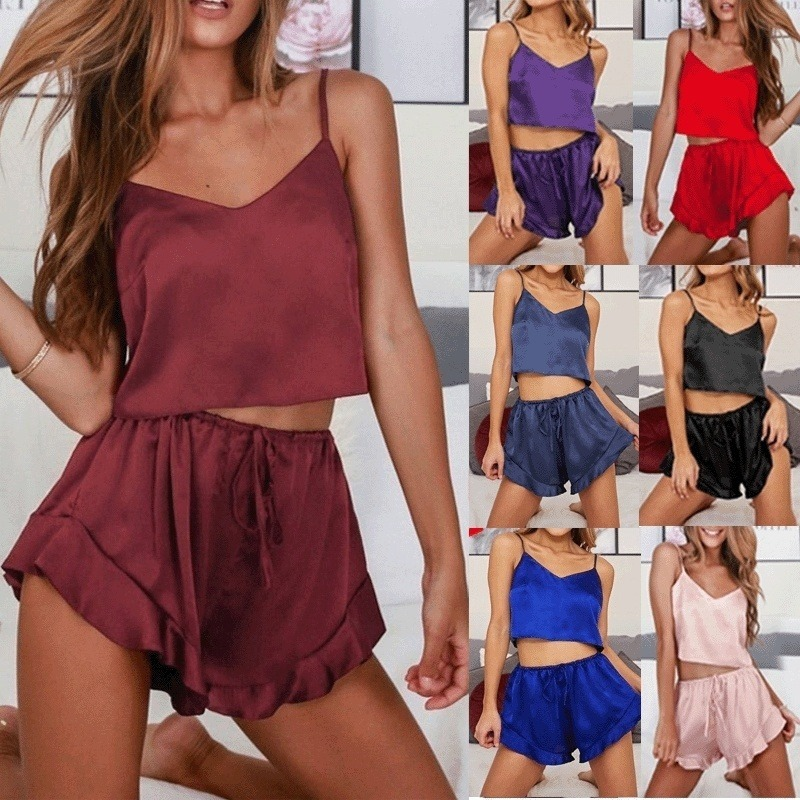 Womens Sleeveless Sleepwear Set Sexy Lingerie Nightgrown Crop Top Pajamas Sets