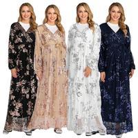 Elegant Women Muslim Lace Long Sleeve Maxi Dress Abaya Islamic Jilbab Kaftan Robe Luxury Dubai Ramadan Clothing Middle East Gown