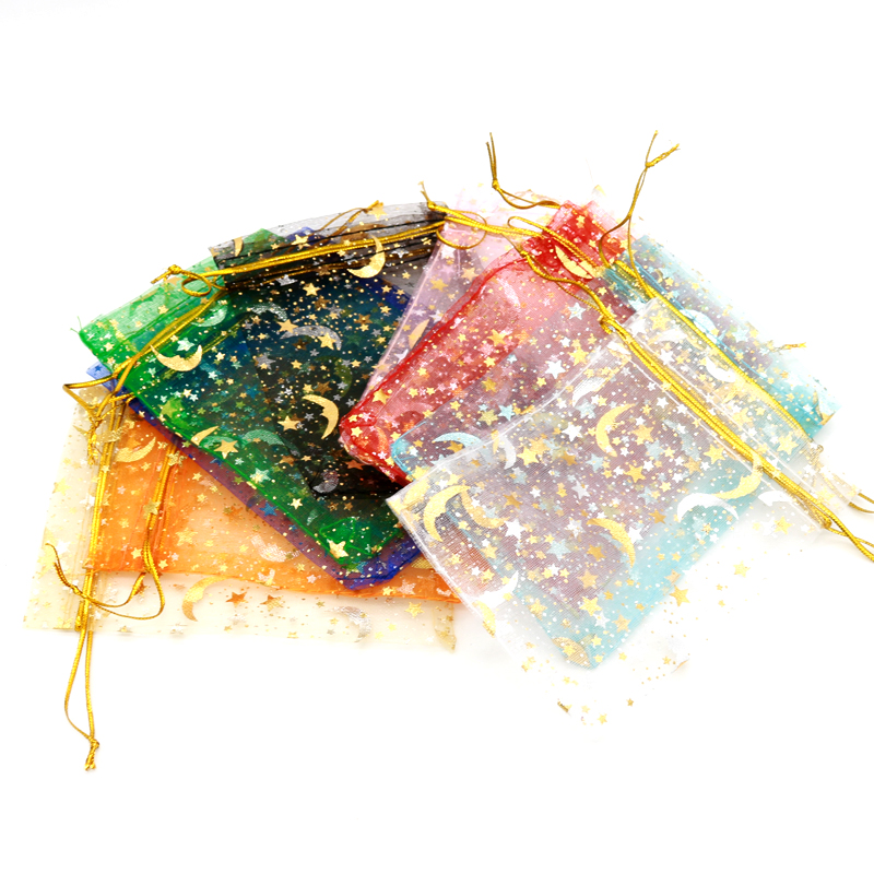 200pcs 11x16cm Drawstring Organza Bags Jewelry Packaging Bags Wedding Party Gift Bag Birthday Gift Bags With   Star Moon Pattern