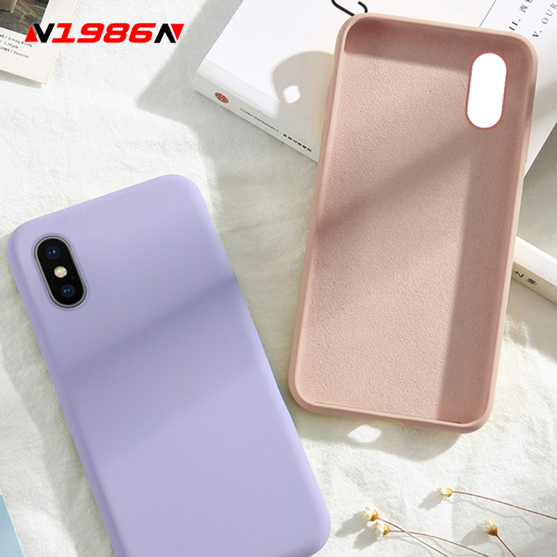N1986N Liquid Silicone For iPhone 6 6s 7 8 Plus X XR XS Max Phone Case Fashion Candy