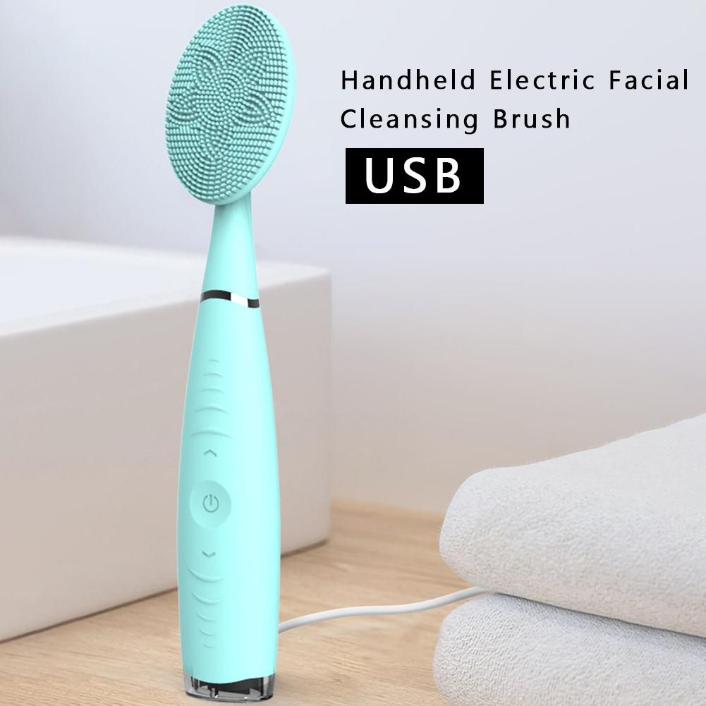 Sonic Facial Cleansing Brush Vibration Mini Face Cleaner Silicone Deep Pore Cleaning Electric Waterproof Massage