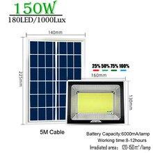 180w led painel solar lâmpada de controle remoto luz rua cabo brilhante carregador solar ao ar livre à prova dwaterproof água longo trabalho