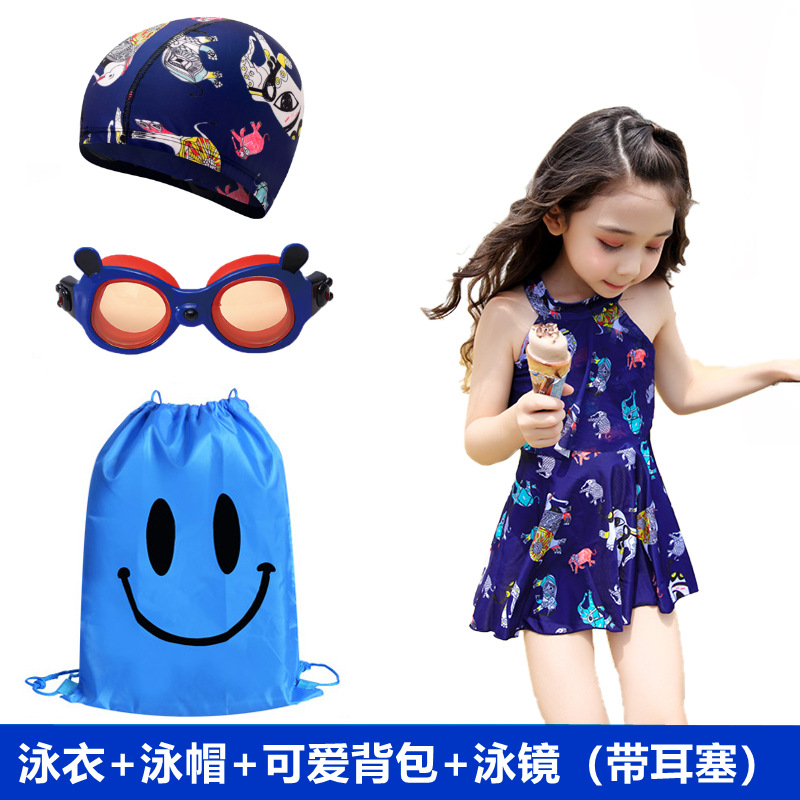New Style KID'S Swimwear Four-piece Set Combo Medium And Small Girls Students Dress-Boxer Hot Springs Tour Bathing Suit