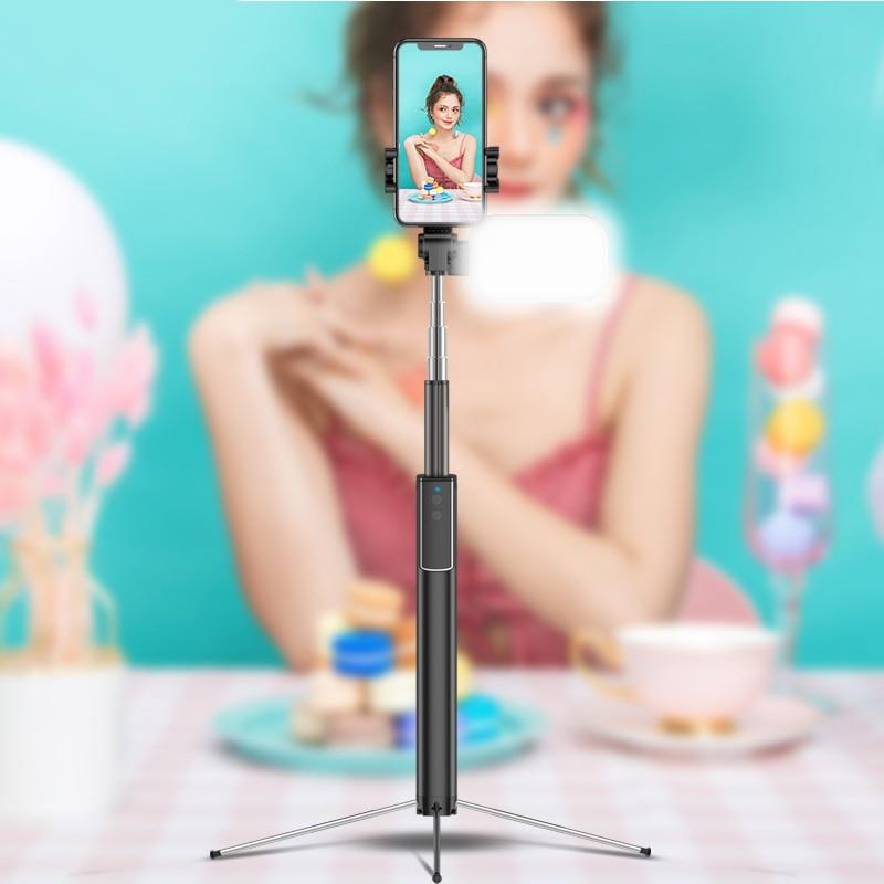 עופרות הסלפי Stick חצובה, 63 אינץ להארכה הסלפי Stick עם Bluetooth מרחוק & הסלפי אלחוטי אור עם אור מילוי (4)