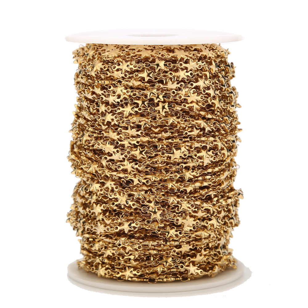 1 Meter Stainless Steel Golden Star Handmade Link Chain For Women Choker Bracelet Necklace Jewelry Making