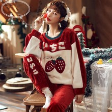 Autumn and Winter New Ladies Coral Fleece Strawberry Pajamas Two-piece Thickening Flannel Home Clothes Suit Comfortable Warm
