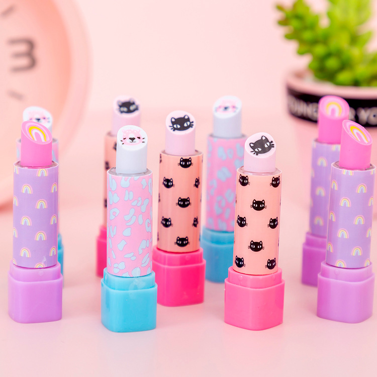 Kawaii Lipsticks Shape Luna Cat Ranibow Eraser Stationery Supplies